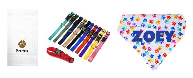 dog collars and personalized bandana