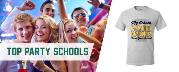 top college party school shirt