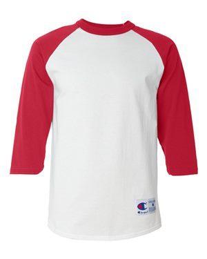 red baseball shirt