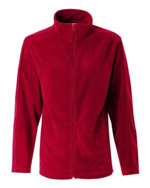 red mens fleece zip-up