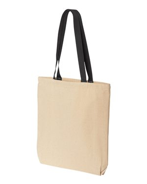 Tote bag with colored handle 10oz black