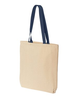 Tote bag with colored handle 10oz blue
