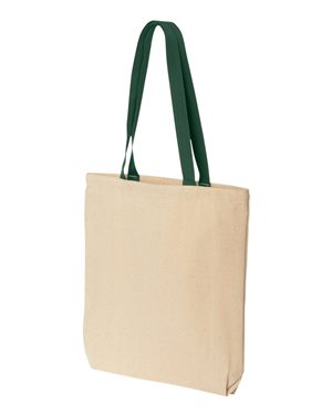 Tote bag with colored handle 10oz green
