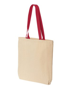 Tote bag with colored handle 10oz red
