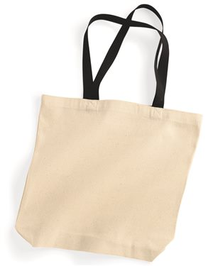 Tote bag with colored handle 10oz