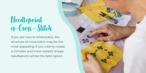 """Needlepoint vs. Cross-Stitch"" text over women cross stitching"