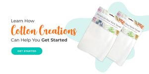 """American flour sack towels with text that says """"Learn how Cotton Creations can help you get started"""""""