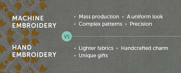 machine vs. hand embroidery