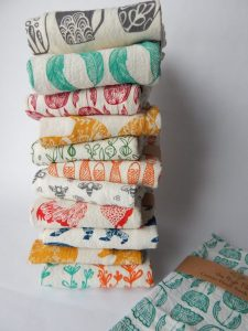 Custom printed flour sack towels stacked