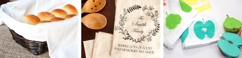 a variety of customized tea towels