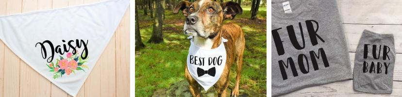Custom dog shirts and bandanas