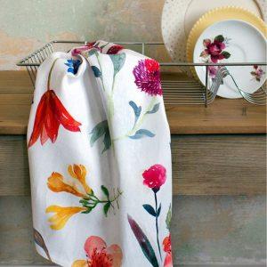 A floral printed tea towel