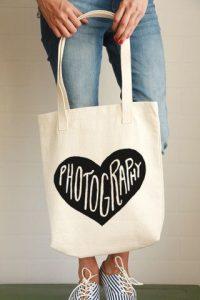 "Custom printed tote bag that says ""Photography"""