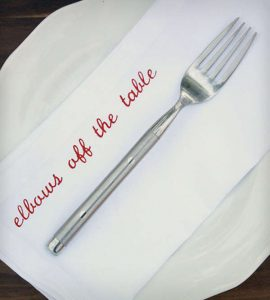 A custom napkin with words engraved on it