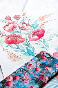 Flower drawing motif