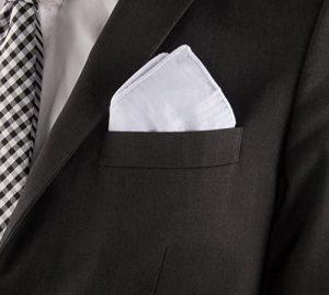 Folded handkerchief in suit pocket